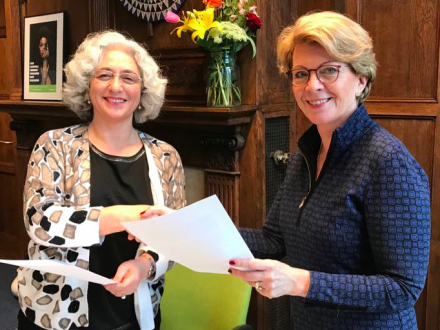 Farah Karimi and Marie Haga sign letter of intent to collaborate on conserving diversity by use